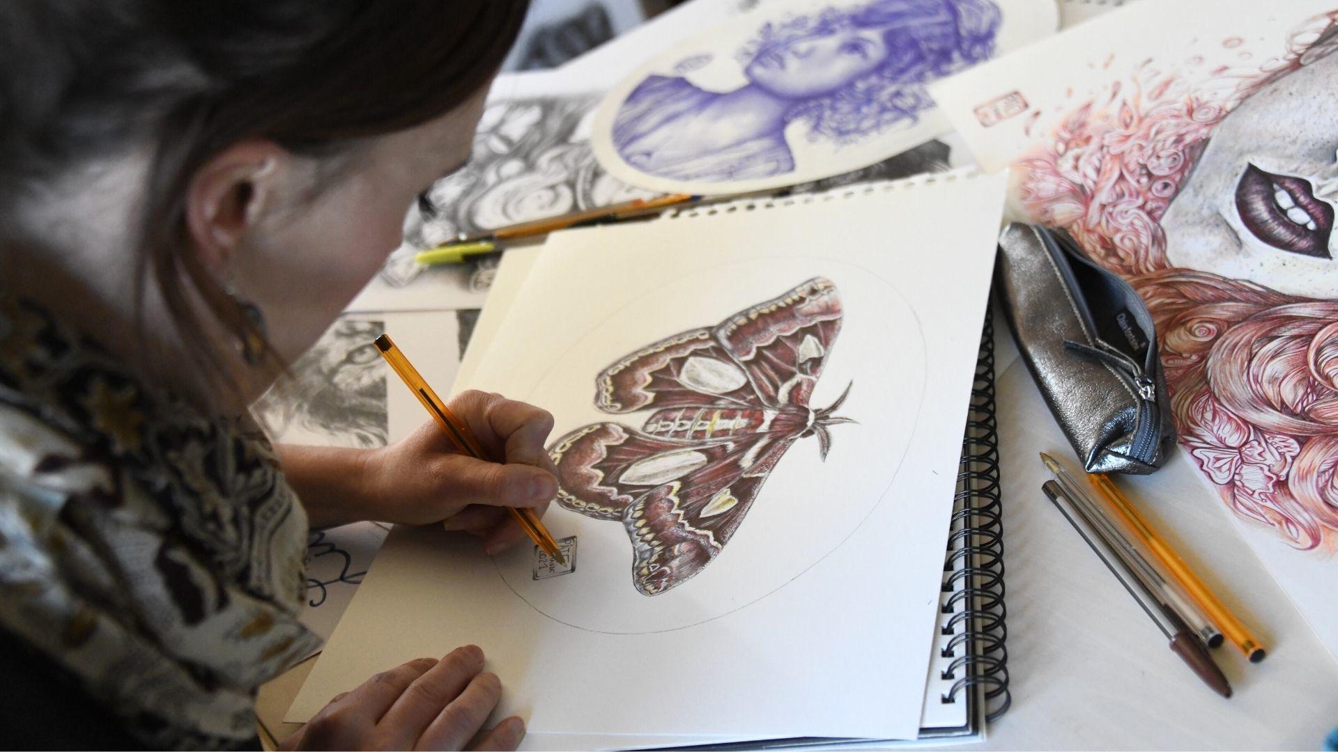 Amandine Lefebvre dessinatrice au stylo bic : Un papillon de nuit aux nombreuses teintes