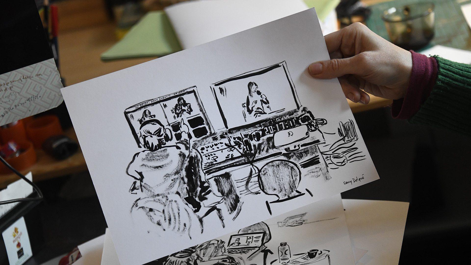 Fanny Delqué croque les Vagamondes - dessins à l'encre de chine